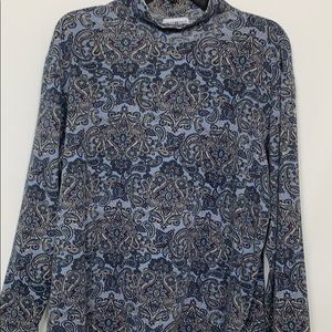 White Stag blue paisley turtleneck top size Lg